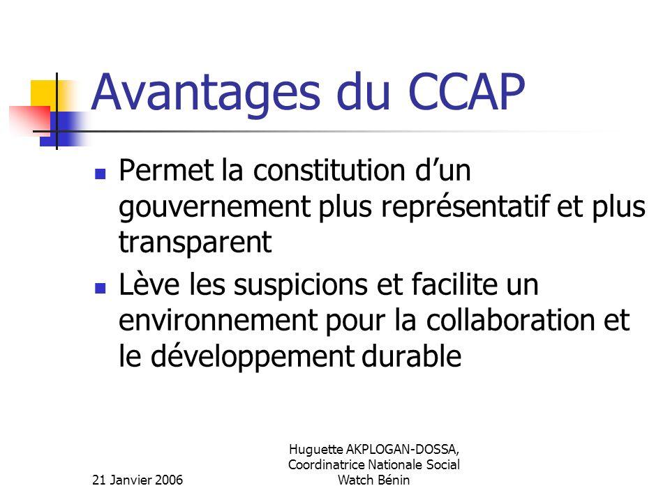 21 Janvier 2006 Huguette AKPLOGAN-DOSSA, Coordinatrice Nationale Social Watch Bénin Avantages du CCAP Permet la constitution dun gouvernement plus rep