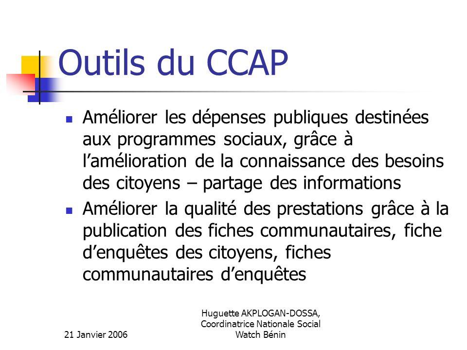21 Janvier 2006 Huguette AKPLOGAN-DOSSA, Coordinatrice Nationale Social Watch Bénin Outils du CCAP Améliorer les dépenses publiques destinées aux prog