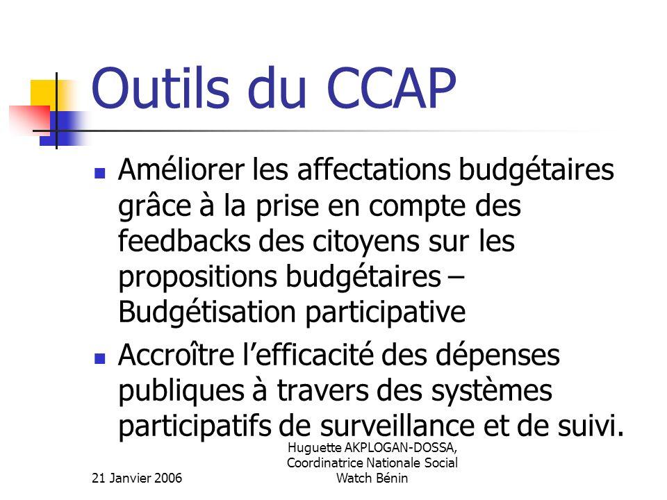 21 Janvier 2006 Huguette AKPLOGAN-DOSSA, Coordinatrice Nationale Social Watch Bénin Outils du CCAP Améliorer les affectations budgétaires grâce à la p