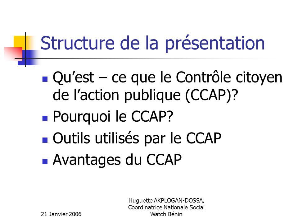 21 Janvier 2006 Huguette AKPLOGAN-DOSSA, Coordinatrice Nationale Social Watch Bénin Structure de la présentation Quest – ce que le Contrôle citoyen de