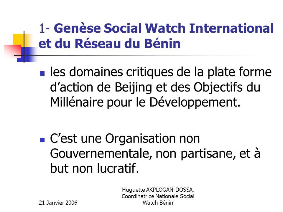 21 Janvier 2006 Huguette AKPLOGAN-DOSSA, Coordinatrice Nationale Social Watch Bénin 1- Genèse Social Watch International et du Réseau du Bénin les dom