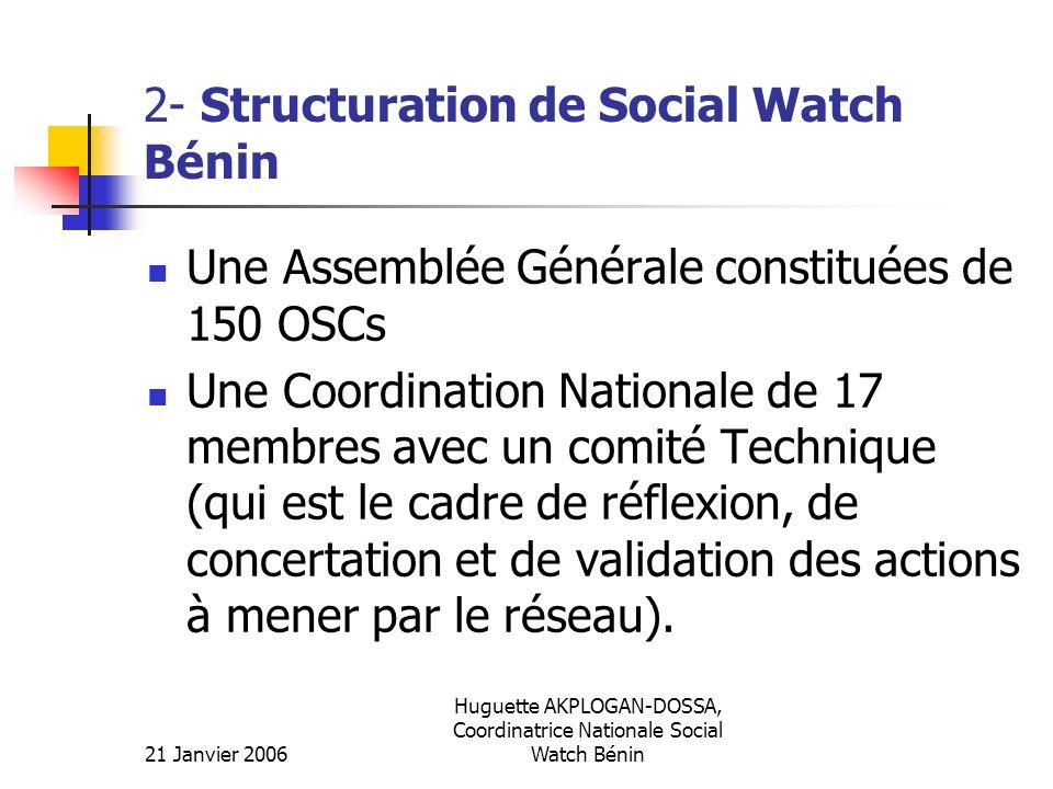 21 Janvier 2006 Huguette AKPLOGAN-DOSSA, Coordinatrice Nationale Social Watch Bénin 2- Structuration de Social Watch Bénin Une Assemblée Générale cons