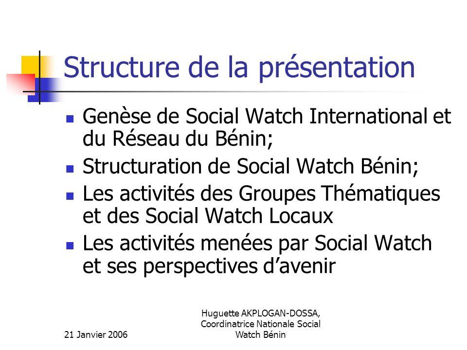 21 Janvier 2006 Huguette AKPLOGAN-DOSSA, Coordinatrice Nationale Social Watch Bénin Structure de la présentation Genèse de Social Watch International