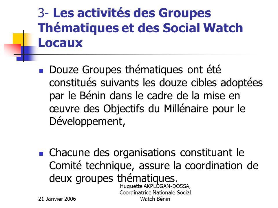 21 Janvier 2006 Huguette AKPLOGAN-DOSSA, Coordinatrice Nationale Social Watch Bénin 3- Les activités des Groupes Thématiques et des Social Watch Locau