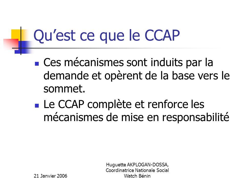 21 Janvier 2006 Huguette AKPLOGAN-DOSSA, Coordinatrice Nationale Social Watch Bénin Quest ce que le CCAP Ces mécanismes sont induits par la demande et