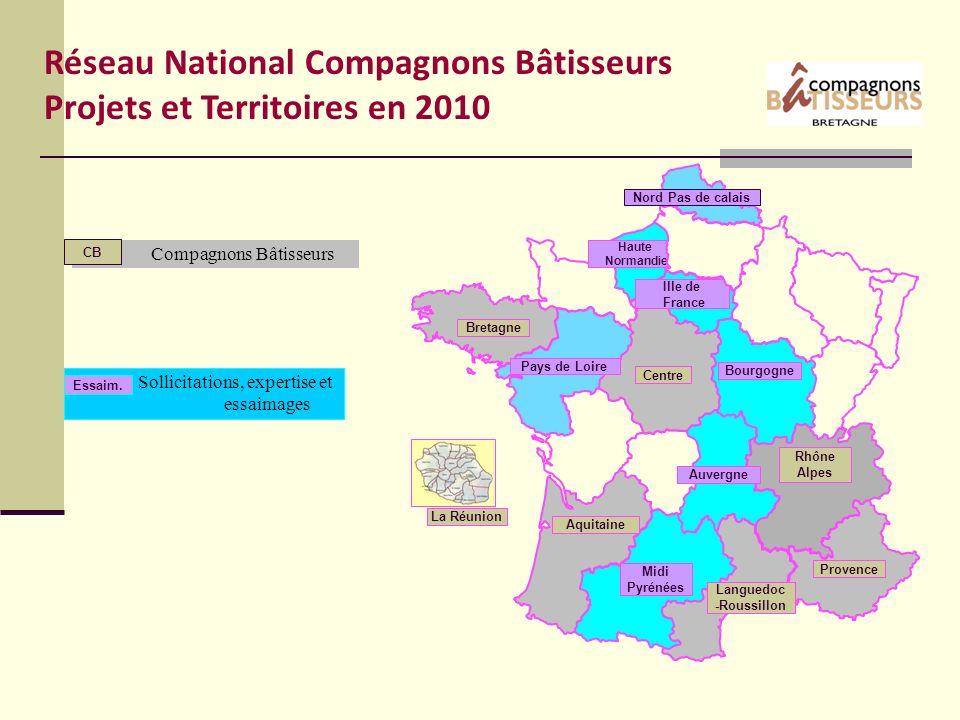 GRIS Compagnons Bâtisseurs CB Sollicitations, expertise et essaimages Essaim. Réseau National Compagnons Bâtisseurs Projets et Territoires en 2010 Aqu
