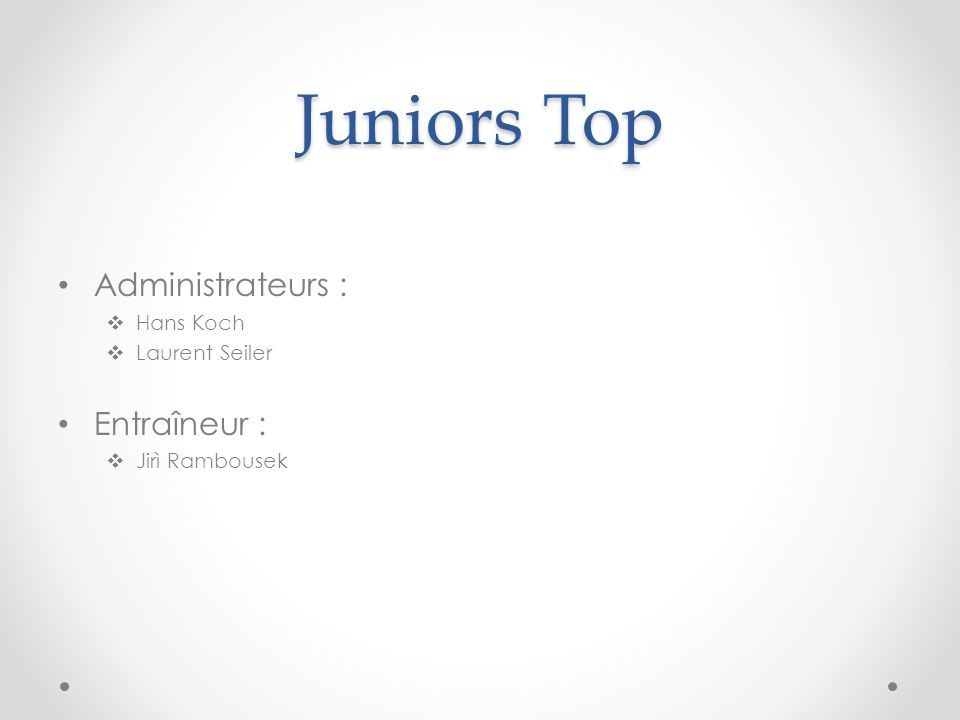 Juniors Top Administrateurs : Hans Koch Laurent Seiler Entraîneur : Jirì Rambousek