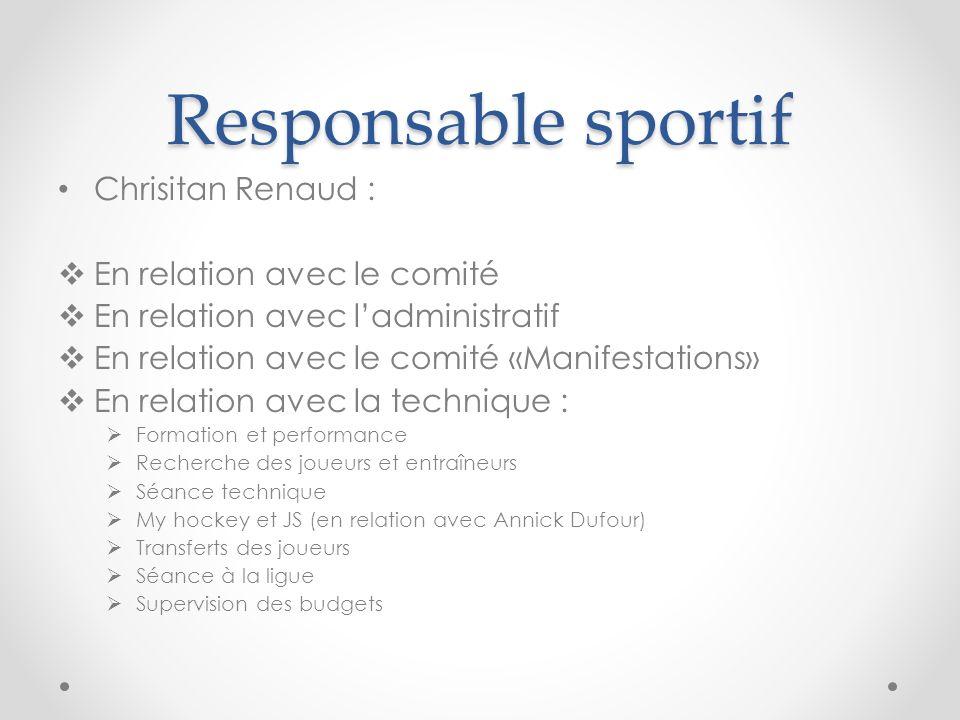 Responsable sportif Chrisitan Renaud : En relation avec le comité En relation avec ladministratif En relation avec le comité «Manifestations» En relat