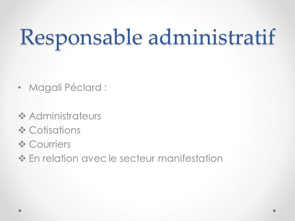 Responsable administratif Magali Péclard : Administrateurs Cotisations Courriers En relation avec le secteur manifestation