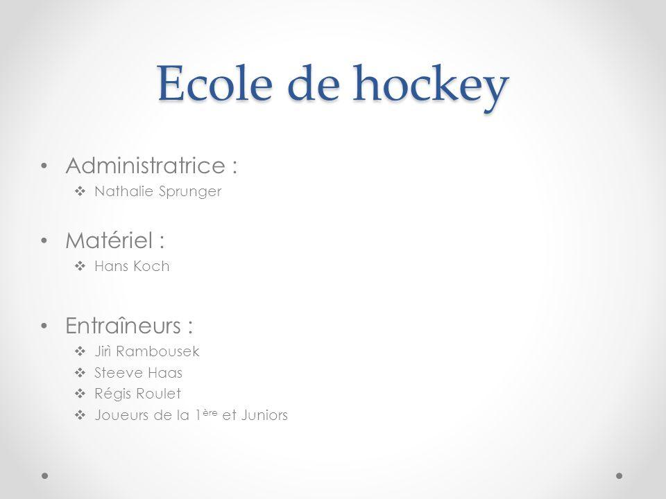 Ecole de hockey Administratrice : Nathalie Sprunger Matériel : Hans Koch Entraîneurs : Jirì Rambousek Steeve Haas Régis Roulet Joueurs de la 1 ère et