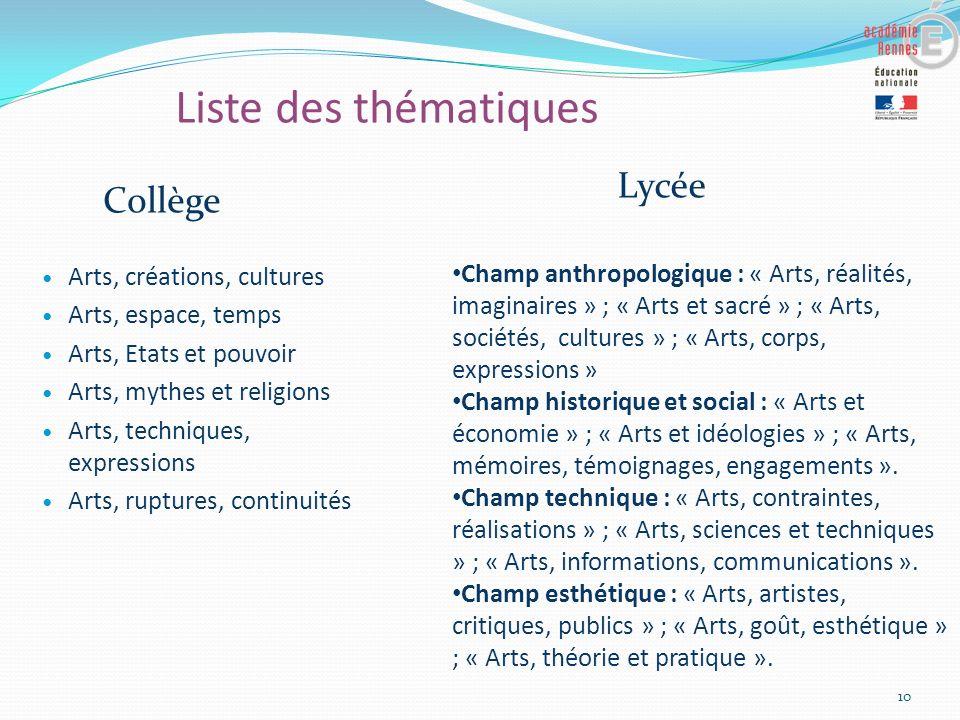 Liste des thématiques Arts, créations, cultures Arts, espace, temps Arts, Etats et pouvoir Arts, mythes et religions Arts, techniques, expressions Art