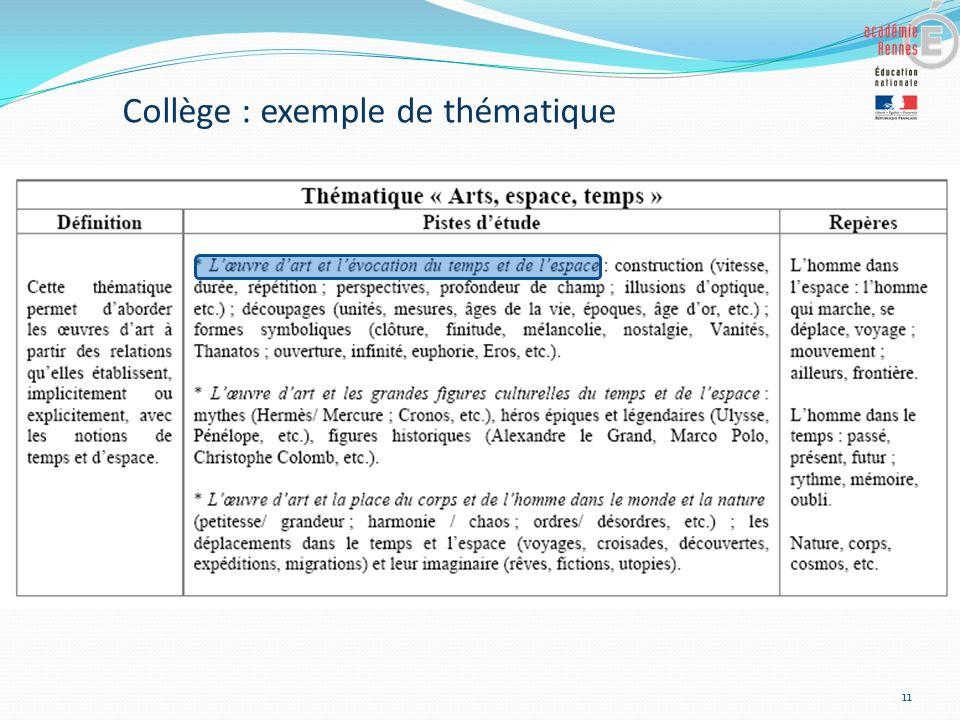11 Collège : exemple de thématique