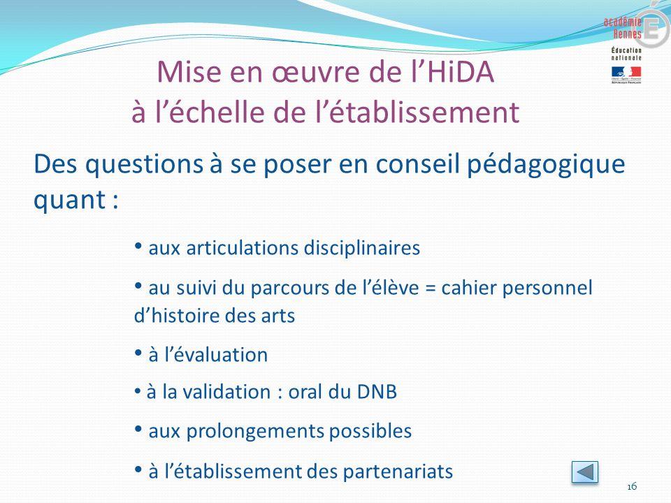 Mise en œuvre de lHiDA à léchelle de létablissement 16 Des questions à se poser en conseil pédagogique quant : aux articulations disciplinaires au sui