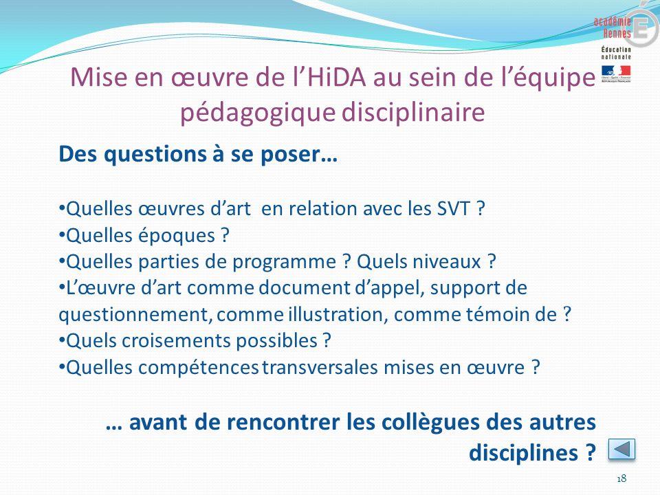 Mise en œuvre de lHiDA au sein de léquipe pédagogique disciplinaire 18 Des questions à se poser… Quelles œuvres dart en relation avec les SVT ? Quelle