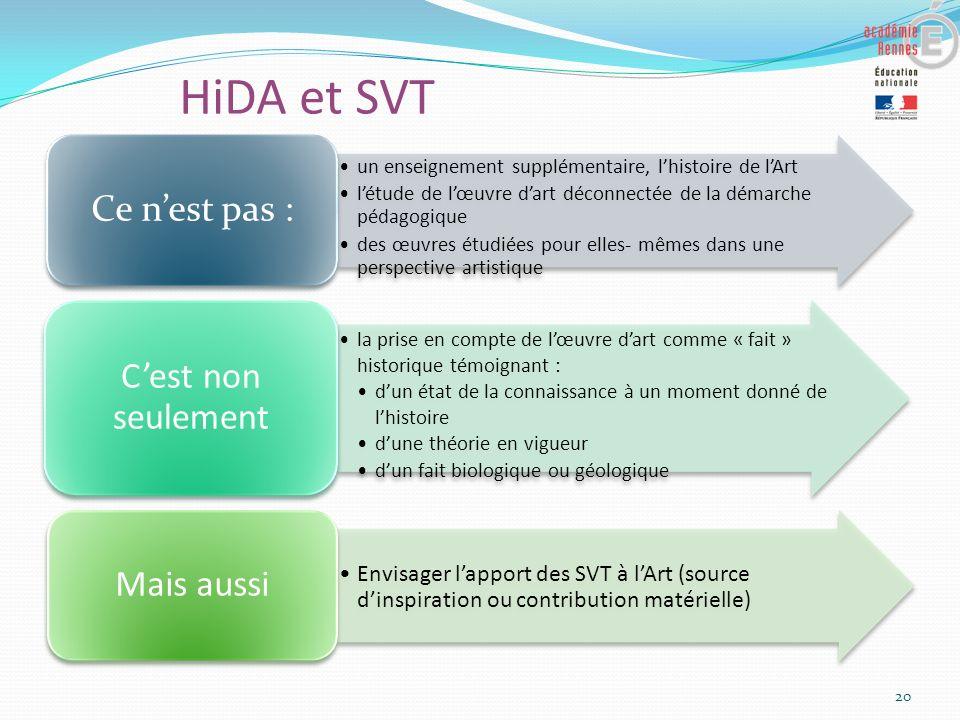HiDA et SVT 20 un enseignement supplémentaire, lhistoire de lArt létude de lœuvre dart déconnectée de la démarche pédagogique des œuvres étudiées pour