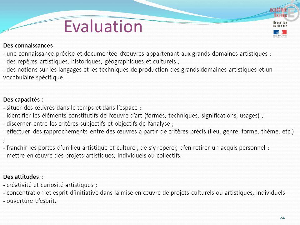 Evaluation 24 Des capacités : - situer des œuvres dans le temps et dans lespace ; - identifier les éléments constitutifs de lœuvre dart (formes, techn