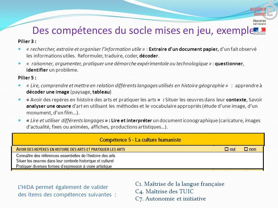 Des compétences du socle mises en jeu, exemples : Pilier 3 : « rechercher, extraire et organiser linformation utile » : Extraire dun document papier,