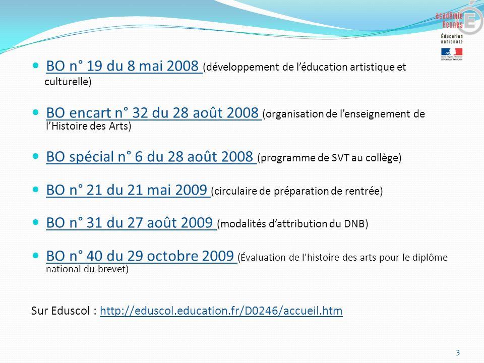 BO n° 19 du 8 mai 2008 (développement de léducation artistique et BO n° 19 du 8 mai 2008 culturelle) BO encart n° 32 du 28 août 2008 (organisation de