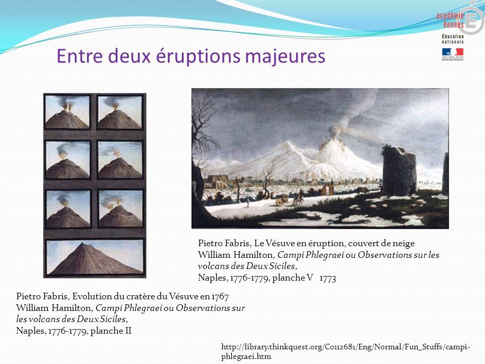 Entre deux éruptions majeures Pietro Fabris, Evolution du cratère du Vésuve en 1767 William Hamilton, Campi Phlegraei ou Observations sur les volcans