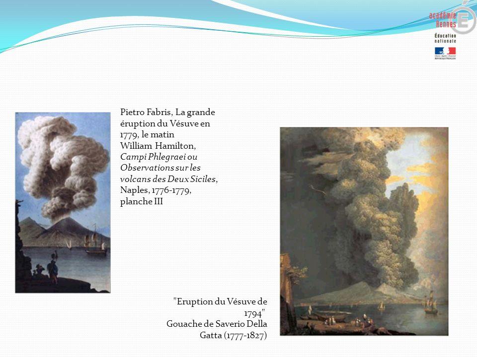 Pietro Fabris, La grande éruption du Vésuve en 1779, le matin William Hamilton, Campi Phlegraei ou Observations sur les volcans des Deux Siciles, Napl