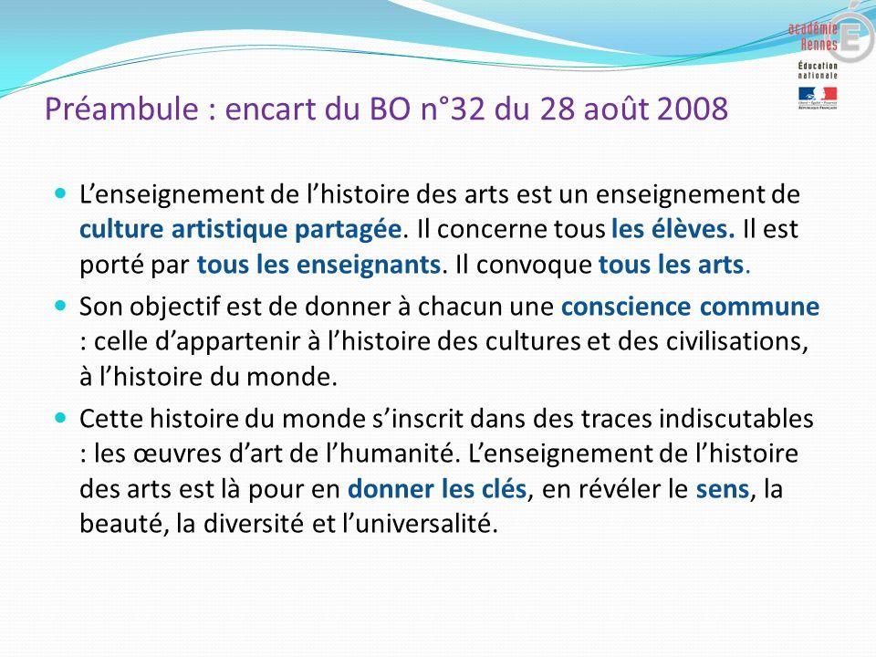 Préambule : encart du BO n°32 du 28 août 2008 Lenseignement de lhistoire des arts est un enseignement de culture artistique partagée. Il concerne tous
