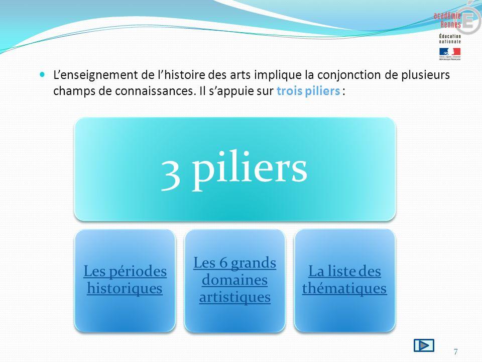 7 Lenseignement de lhistoire des arts implique la conjonction de plusieurs champs de connaissances. Il sappuie sur trois piliers : 3 piliers Les pério