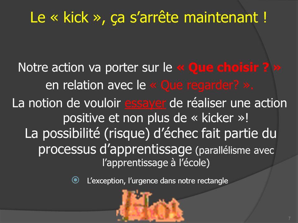 8 AGIR ACTIVEMENT Organisation Principes de jeu Automatismes AGIR RÉACTIVEMENT Organisation Principes de jeu Automatismes 0 90 Le « kick », ça sarrête maintenant !