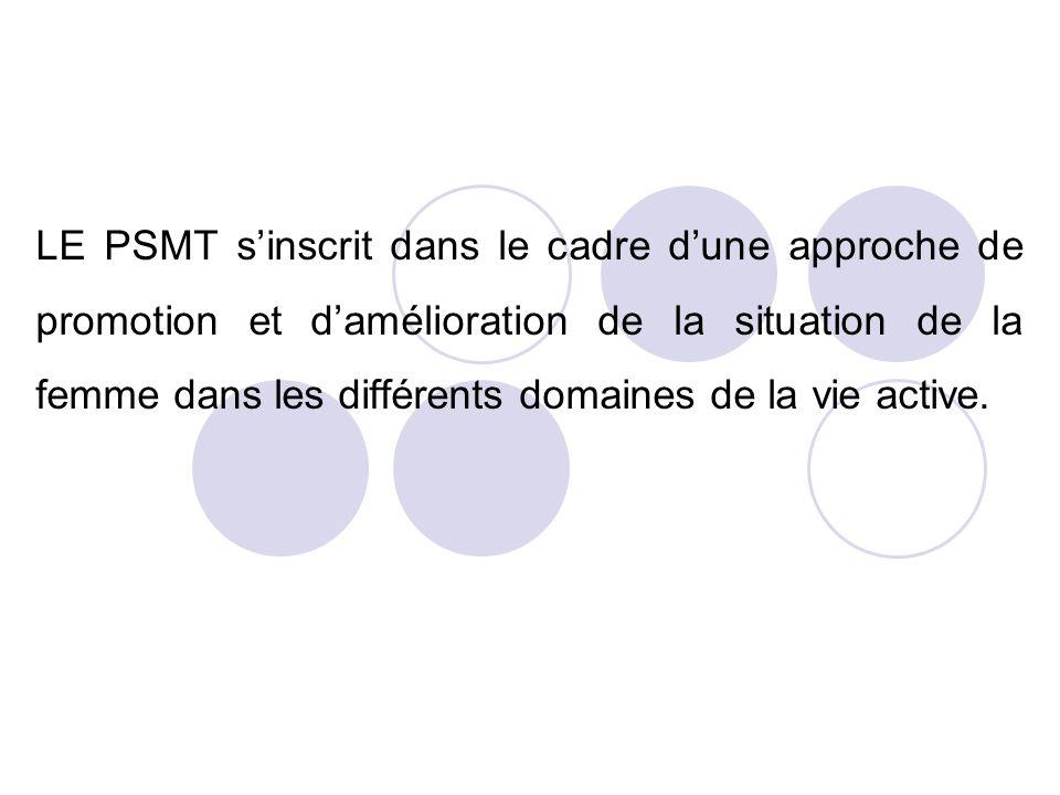 LE PSMT sinscrit dans le cadre dune approche de promotion et damélioration de la situation de la femme dans les différents domaines de la vie active.
