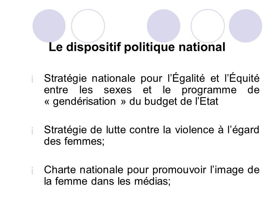 Le dispositif politique national ¡ Stratégie nationale pour lÉgalité et lÉquité entre les sexes et le programme de « gendérisation » du budget de lEta