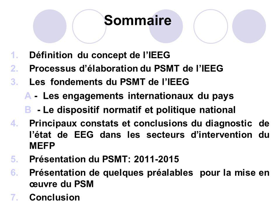 Sommaire 1.Définition du concept de lIEEG 2.Processus délaboration du PSMT de lIEEG 3.Les fondements du PSMT de lIEEG A - Les engagements internationa