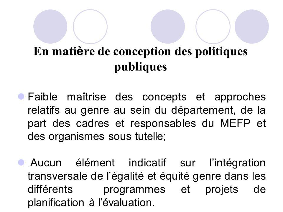 En mati è re de conception des politiques publiques Faible maîtrise des concepts et approches relatifs au genre au sein du département, de la part des