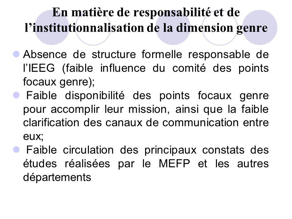 En matière de responsabilité et de linstitutionnalisation de la dimension genre Absence de structure formelle responsable de lIEEG (faible influence d