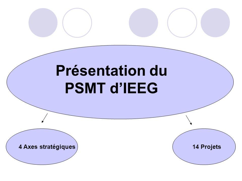 Présentation du PSMT dIEEG 4 Axes stratégiques 14 Projets