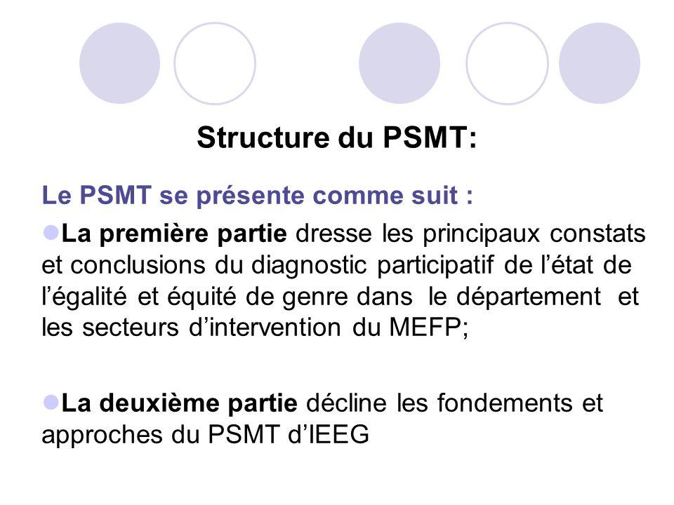 Structure du PSMT: Le PSMT se présente comme suit : La première partie dresse les principaux constats et conclusions du diagnostic participatif de lét