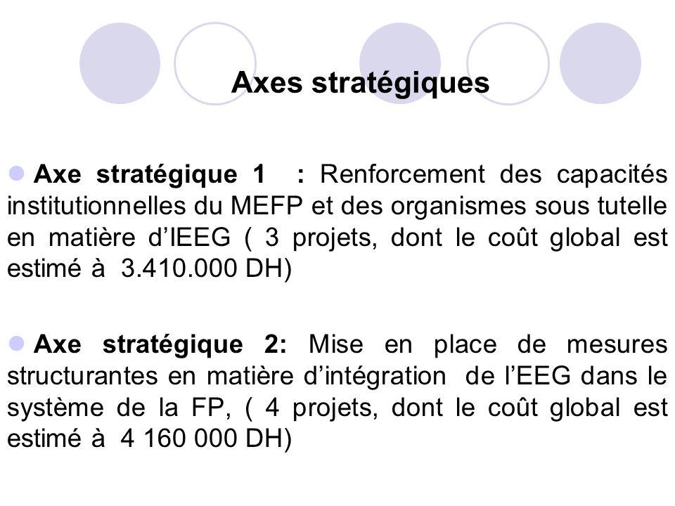 Axes stratégiques Axe stratégique 1 : Renforcement des capacités institutionnelles du MEFP et des organismes sous tutelle en matière dIEEG ( 3 projets