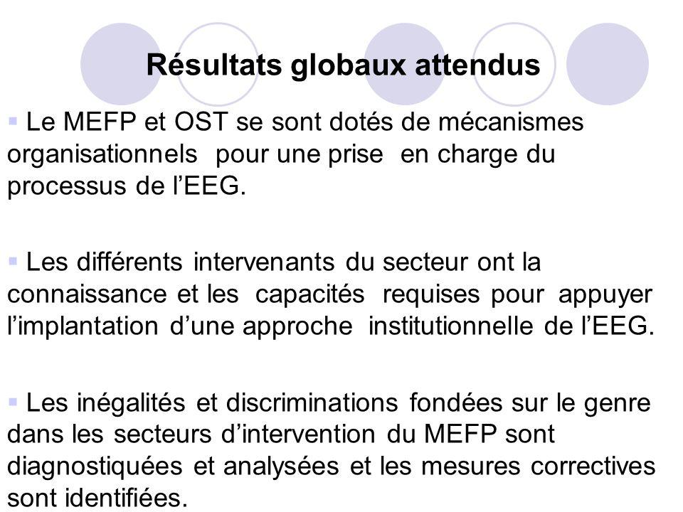Résultats globaux attendus Le MEFP et OST se sont dotés de mécanismes organisationnels pour une prise en charge du processus de lEEG. Les différents i