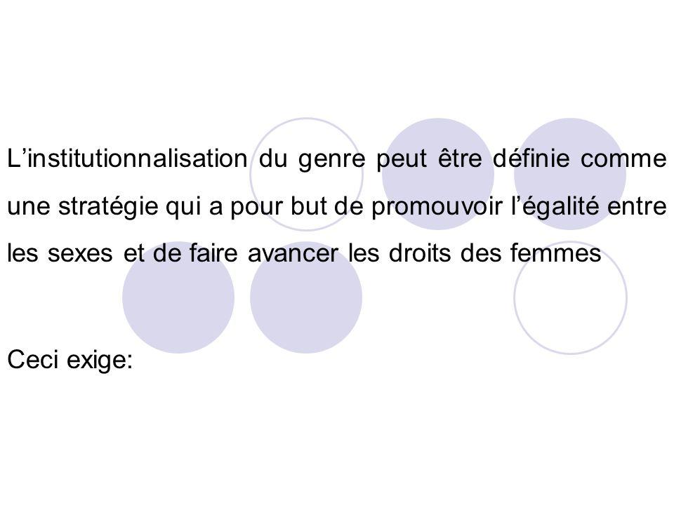 Linstitutionnalisation du genre peut être définie comme une stratégie qui a pour but de promouvoir légalité entre les sexes et de faire avancer les dr