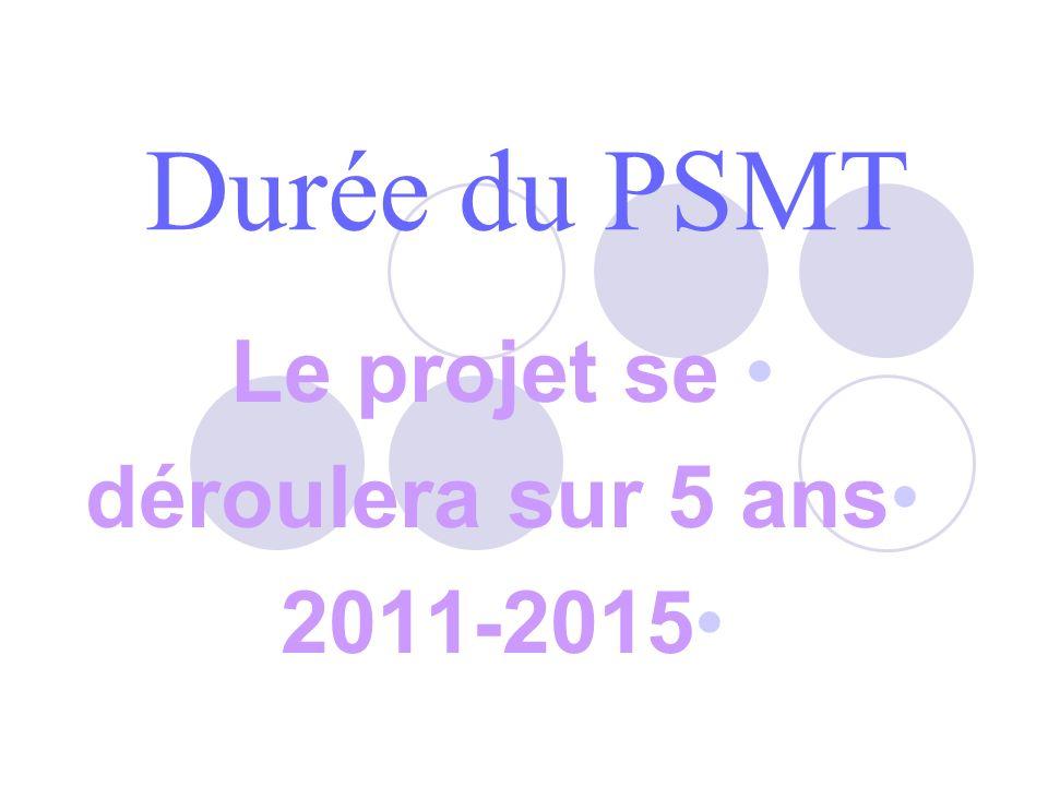 Durée du PSMT Le projet se déroulera sur 5 ans 2011-2015