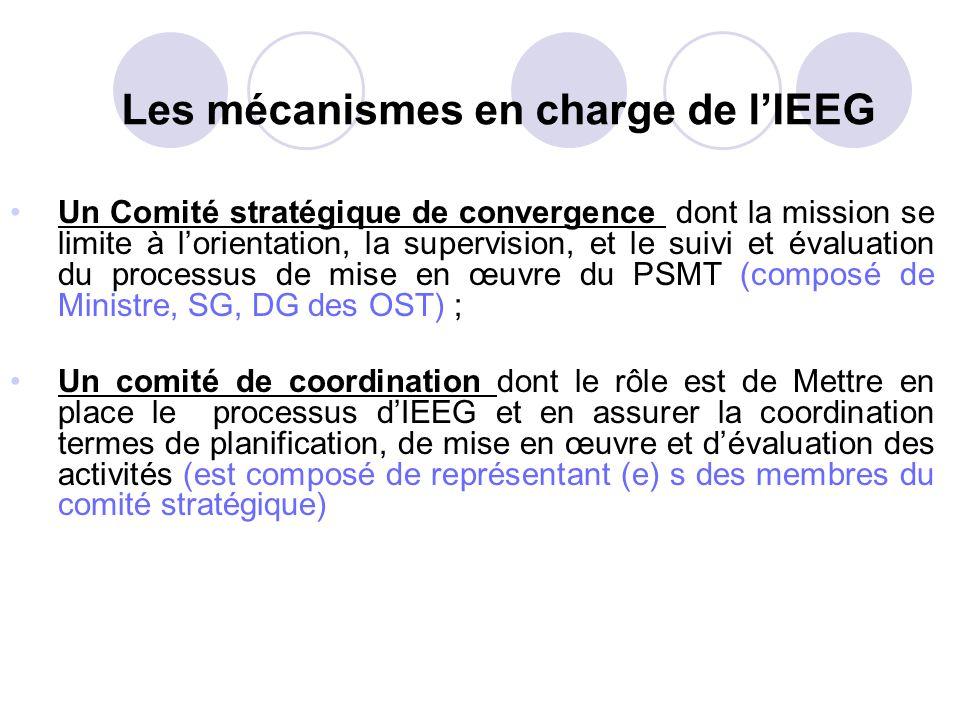 Les mécanismes en charge de lIEEG Un Comité stratégique de convergence dont la mission se limite à lorientation, la supervision, et le suivi et évalua