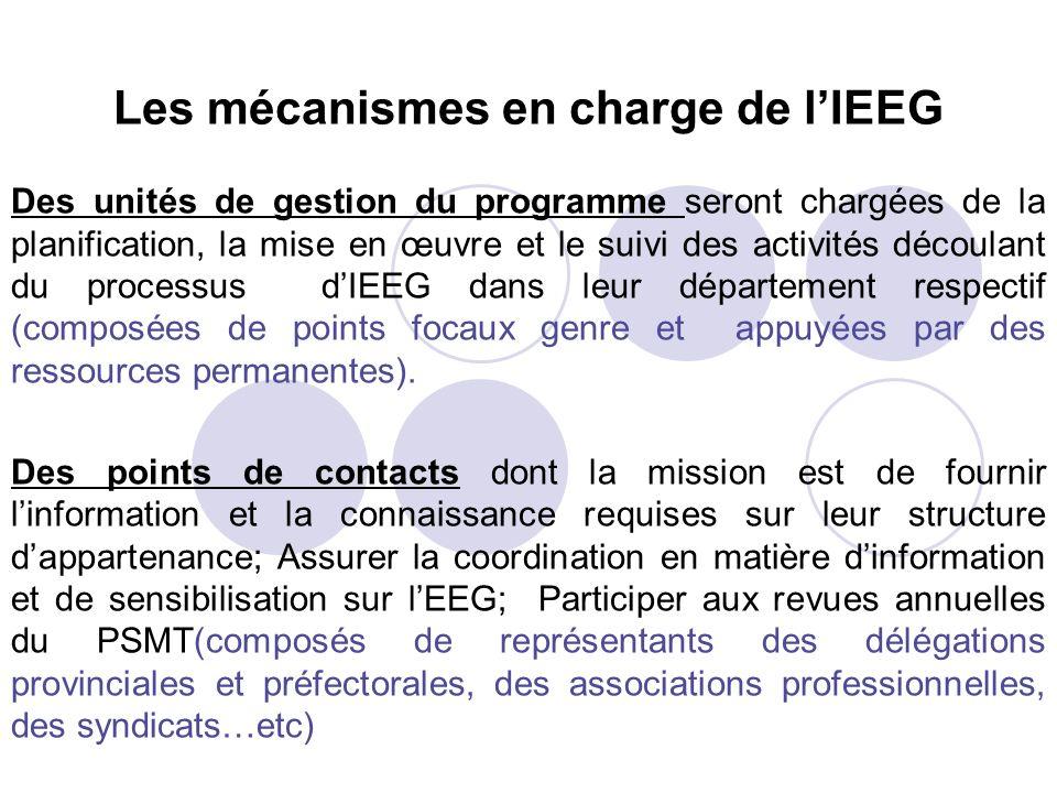Les mécanismes en charge de lIEEG Des unités de gestion du programme seront chargées de la planification, la mise en œuvre et le suivi des activités d