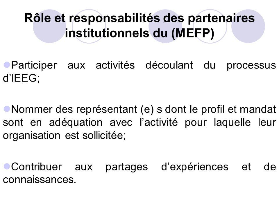 Rôle et responsabilités des partenaires institutionnels du (MEFP) Participer aux activités découlant du processus dIEEG; Nommer des représentant (e) s