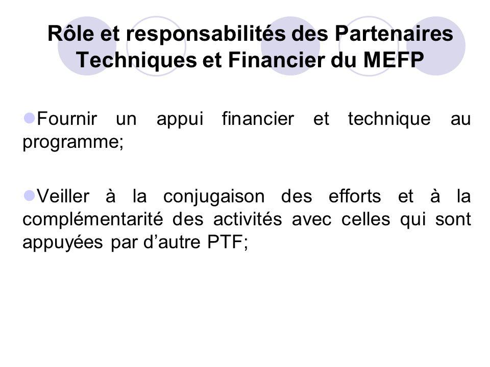 Rôle et responsabilités des Partenaires Techniques et Financier du MEFP Fournir un appui financier et technique au programme; Veiller à la conjugaison