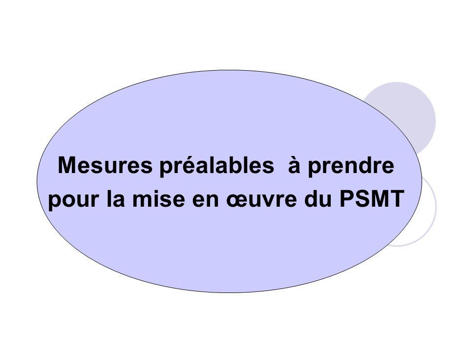 Mesures préalables à prendre pour la mise en œuvre du PSMT