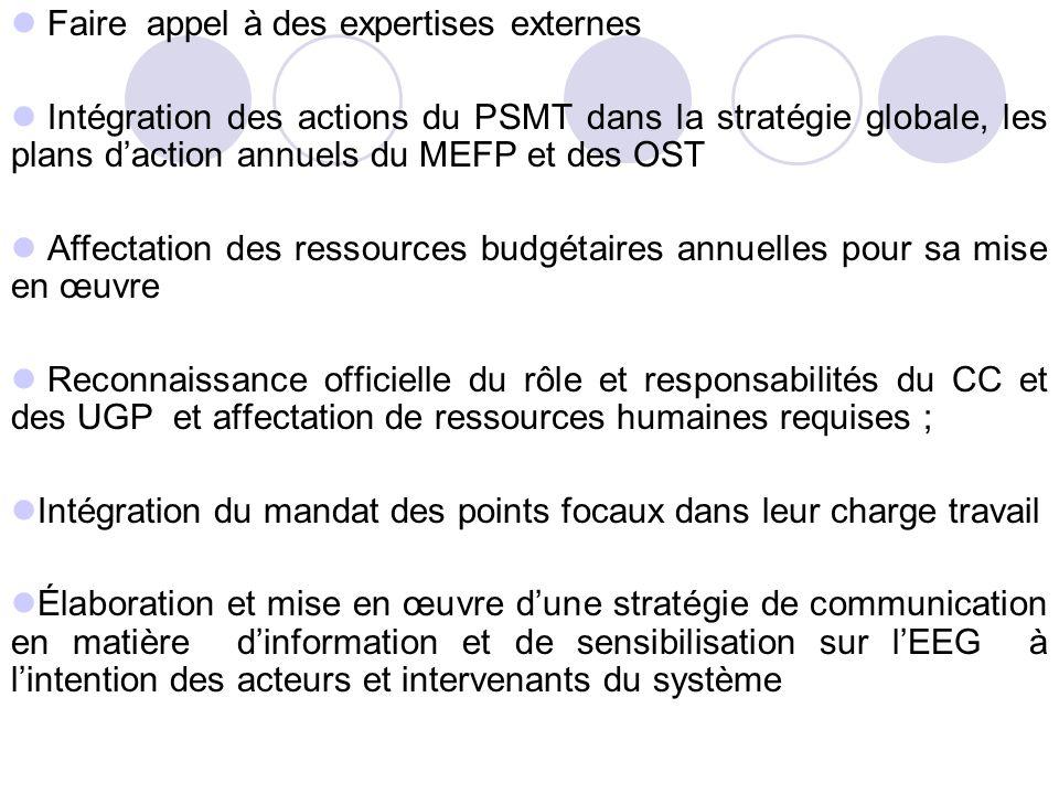 Faire appel à des expertises externes Intégration des actions du PSMT dans la stratégie globale, les plans daction annuels du MEFP et des OST Affectat