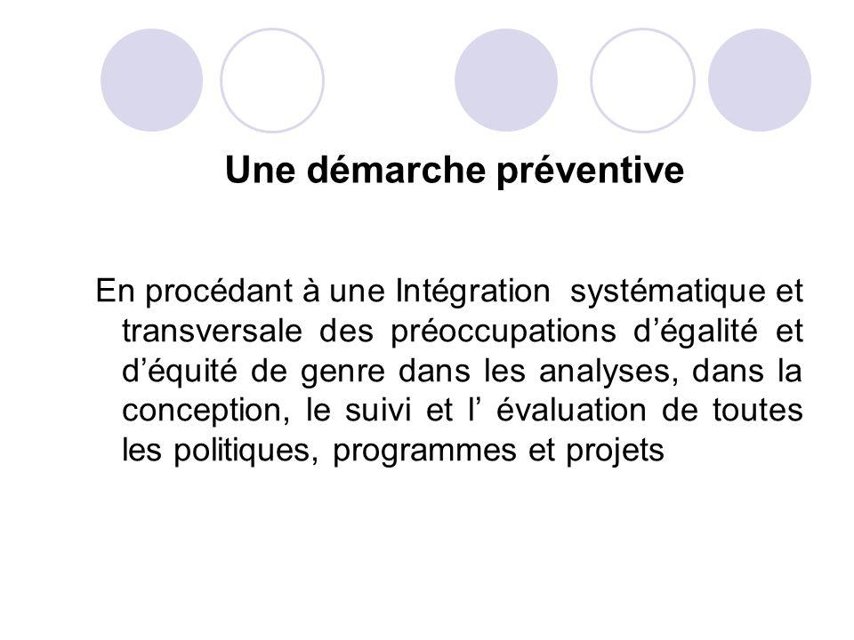 Une démarche préventive En procédant à une Intégration systématique et transversale des préoccupations dégalité et déquité de genre dans les analyses,