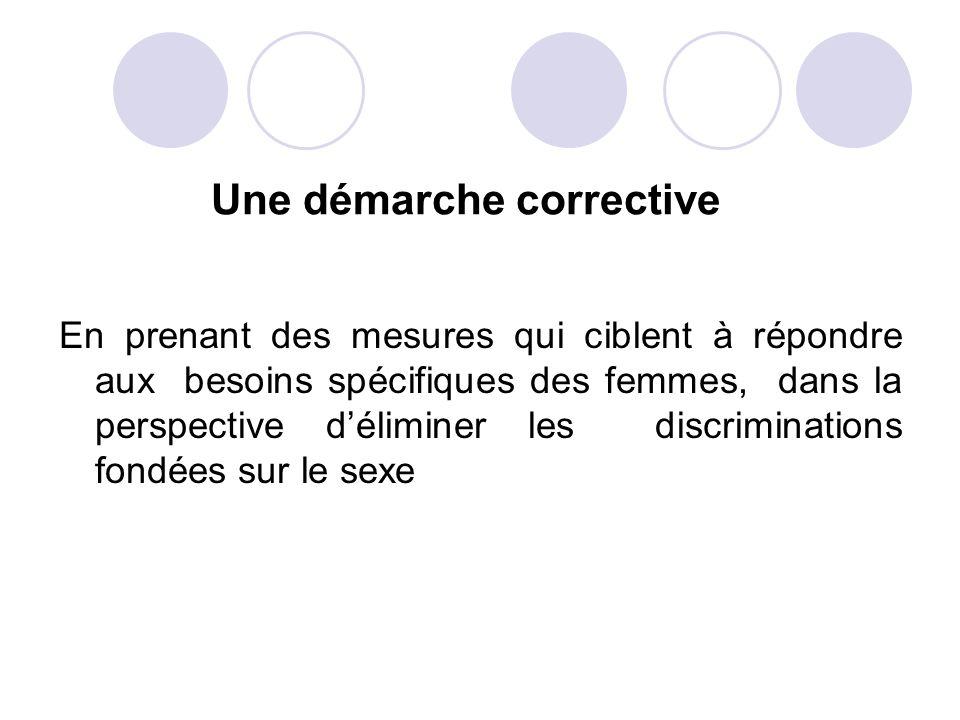 Une démarche corrective En prenant des mesures qui ciblent à répondre aux besoins spécifiques des femmes, dans la perspective déliminer les discrimina