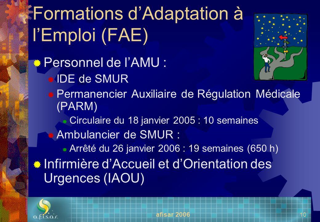 afisar 2006 10 Formations dAdaptation à lEmploi (FAE) Personnel de lAMU : IDE de SMUR Permanencier Auxiliaire de Régulation Médicale (PARM) Circulaire