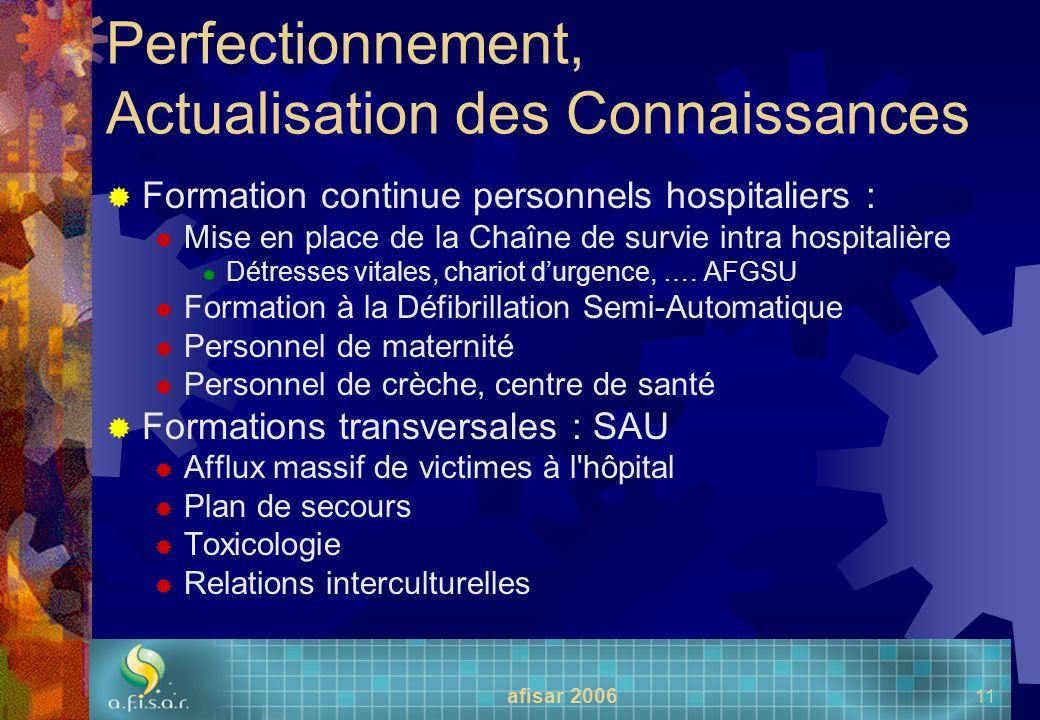 afisar 2006 11 Perfectionnement, Actualisation des Connaissances Formation continue personnels hospitaliers : Mise en place de la Chaîne de survie int