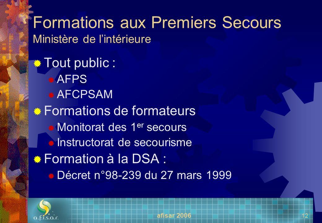 afisar 2006 12 Formations aux Premiers Secours Ministère de lintérieure Tout public : AFPS AFCPSAM Formations de formateurs Monitorat des 1 er secours