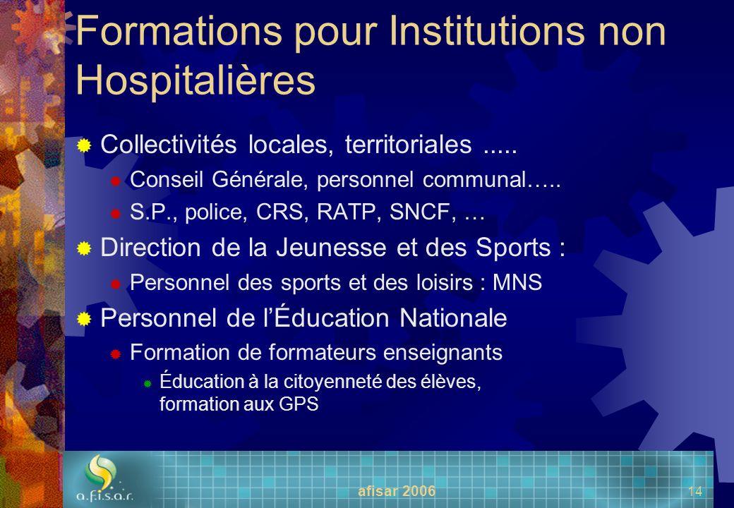 afisar 2006 14 Formations pour Institutions non Hospitalières Collectivités locales, territoriales..... Conseil Générale, personnel communal….. S.P.,